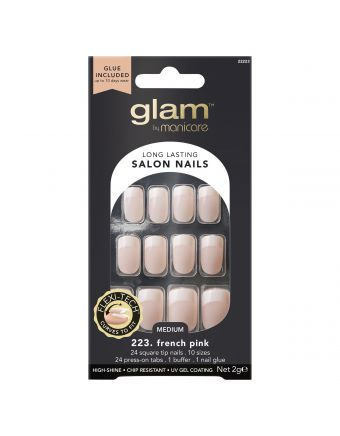 Glam By Manicare 223. French Pink Med Square Nails