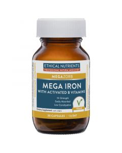 Ethical Nutrients MEGAZORB Mega Iron With Activated B'S 30 Caps